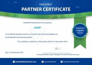 Vanderbilt Partner certificate - Les Certifications ASAP Protection